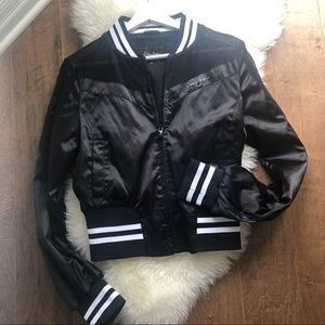 Sean John Black Satin Bomber Jacket